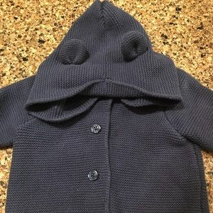 GAP 6-12 month Bear Hoodie Sweater Navy